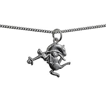 Silver 19x16mm Rodeo Pendant with a curb Chain 24 inches