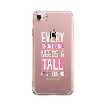 Short Girl Needs Tall Best Friend Transparent Cute Clear Phonecase