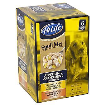 Hilife forkæle mig hund mad voksen enkeltnumre appetitlige sortiment i Jelly 6x100g (pakke med 3)