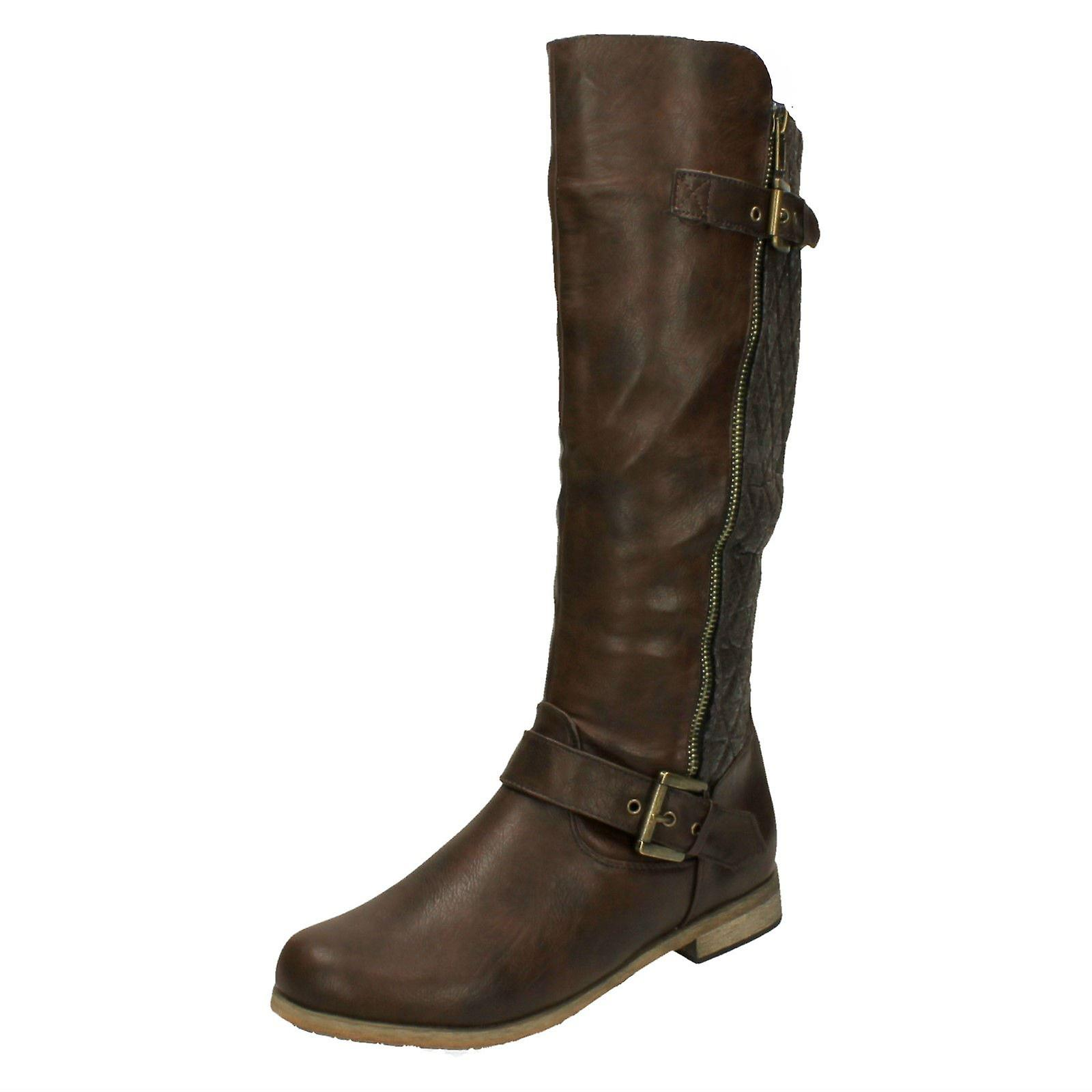 Ladies Spot On Quilted Panel Calf Boot with Zip and Buckle Strap