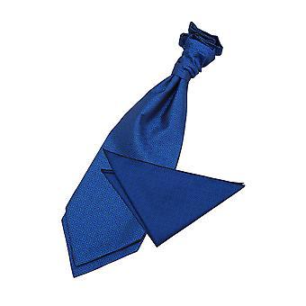 Azul griego clave boda corbata y conjunto Plaza de bolsillo