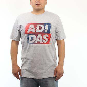Sport Adidas Red And Blue Performance Logo Men's Grey T-shirt