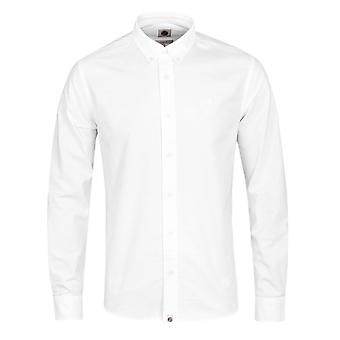 Pretty Green Sterling White Long Sleeve Oxford Shirt