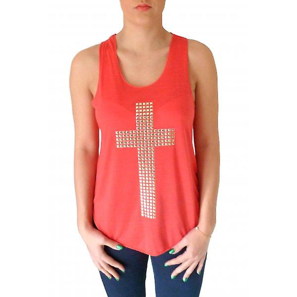 W.A.T Coral Red Gold bezaaid Kruis Vest