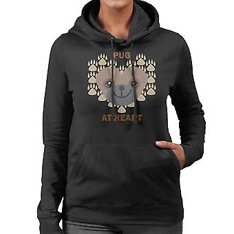 Mops på hjärtat kvinnor är Hooded Sweatshirt
