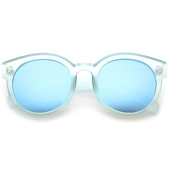Women's Translucent Frost Horn Rimmed Mirrored Flat Lens Round Sunglasses 54mm