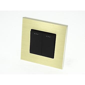 I LumoS Luxury Gold Brushed Aluminium Frame 2 Gang 1 Way Rocker Wall Light Switches
