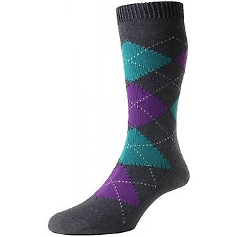 Pantherella Turnmill Argyle Egyptian Cotton Socks - Dark Grey Mix/Purple/Tuquoise