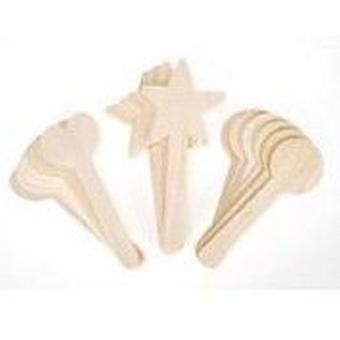 18 Mixed Shaped Craft Sticks | Wooden Shapes for Crafts