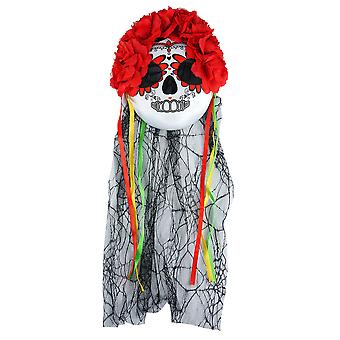 Adults Halloween Day Of The Dead Mask & Veil With Flowers Fancy Dress Accessory