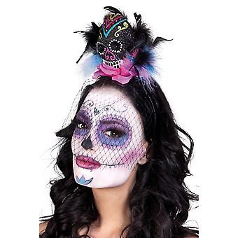 Adults Day of the Dead Sugar Skull on Headband with Veil Halloween Accessory