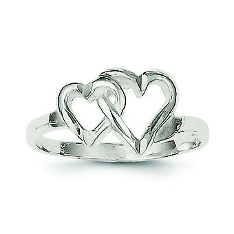 Sterling Silver Solid Polished Sparkle-Cut Heart Ring - Ring Size: 6 to 8