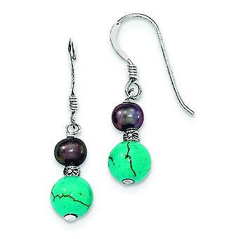 Shepherd hook Freshwater Black Freshwater Cultured Pearl Created Simulated Turquoise Dangle Earrings