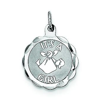 Argent sterling solide poli Engravable sa A Girl charme -.9 grammes