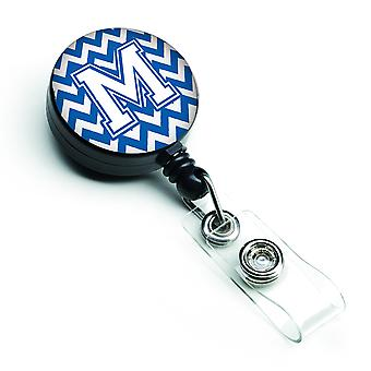 Letter M Chevron Blue and White Retractable Badge Reel