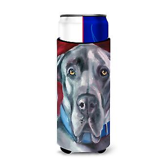 Great Dane Natural Ears Blue Collar Ultra Beverage Insulators for slim cans