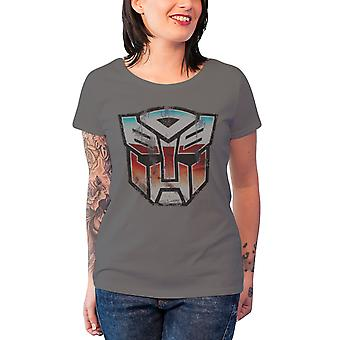 Transformers T Shirt Distressed Autobot Shield Official Womens New Skinny Fit