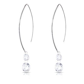 Sterling Silver Marquis Wire Hanging Cubic Zirconia Earring - 2 CZ Stones