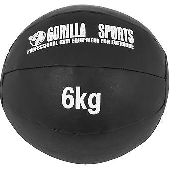 Medizinball aus Leder in Schwarz 6 kg
