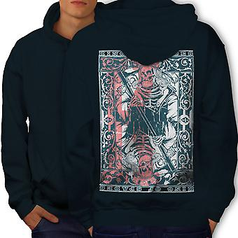 King Skulls Dead Gamble Men NavyHoodie Back | Wellcoda