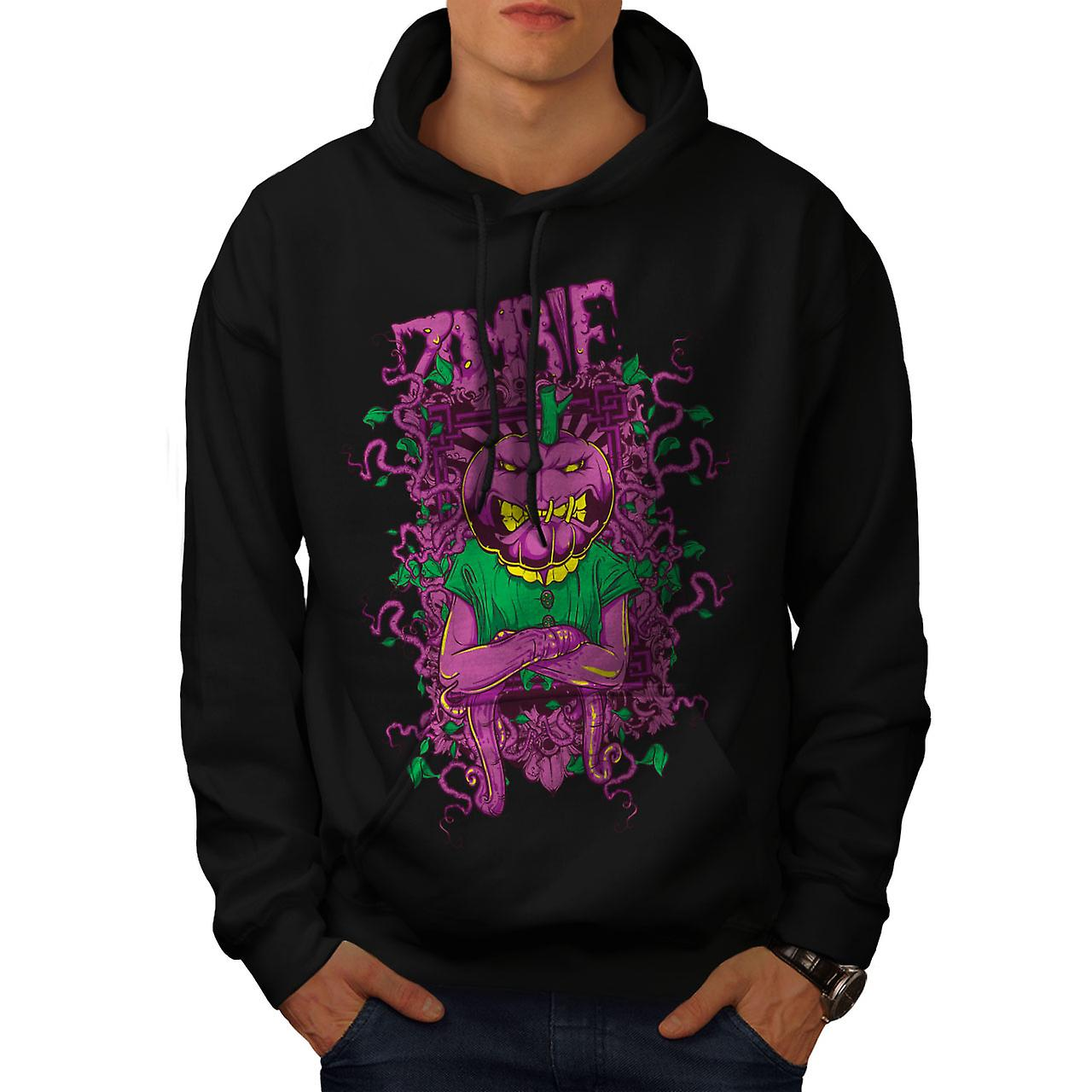 Vegetable Horror Zombie Men Black Hoodie | Wellcoda