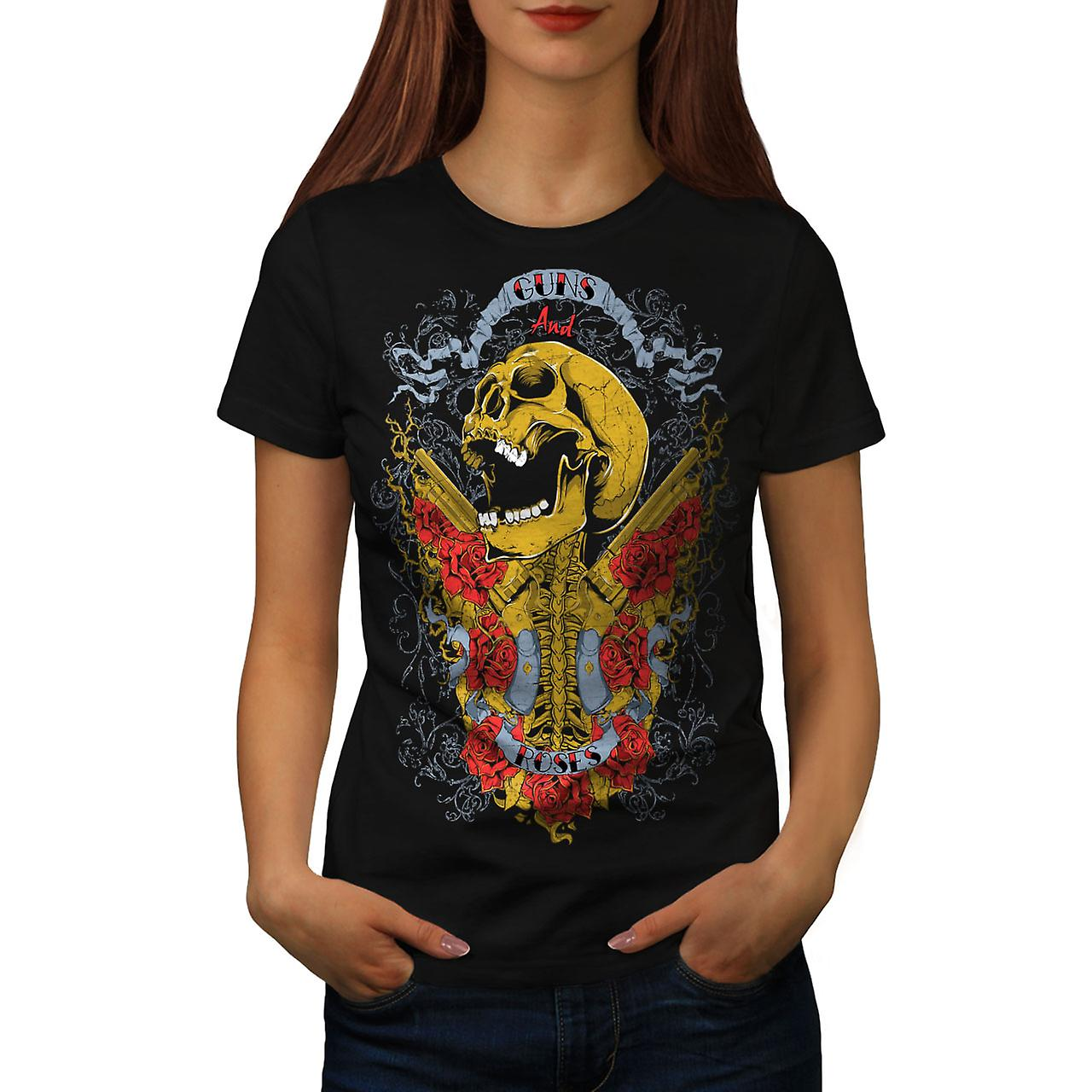 Guns And Roses Skull Women Black T-shirt | Wellcoda