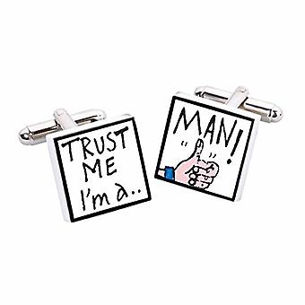 Sonia Spencer Trust Me, I'm a Man Cufflinks - English Bone China Hand Crafted Cuff Links