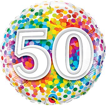 Foil balloon birthday number 50 confetti about 45 cm