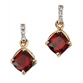 Elements Gold Garnet Drop Earrings - Red/Gold