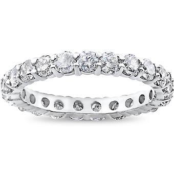 2ct Prong Diamond wieczność pierścień 14K białe złoto