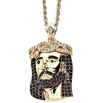 Iced religión bling colgante de Jesús - ojos abierto oro