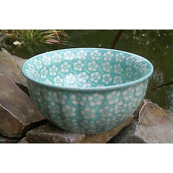 Waves edge Bowl, 2nd choice, Ø 18 cm, height 7 cm, Bolesławiec mint - BSN m-4325