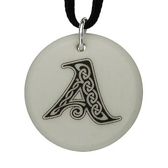 Handmade Celtic Initial Round Shaped Porcelain Pendant - Letter 'A'