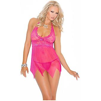 Vivace EM-4078 ace and mesh babydoll features kerchief hemline Matching g-string included