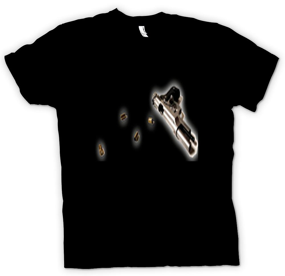 Mens T-shirt - Hand Gun Pistol With Bullets