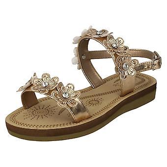 Girls Spot On Slingback Flowery Sandals H0292 - Rose Gold Metallic Foil - UK Size 12 - EU Size 30 - US Size 13