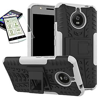 Hybrid case bag 2 piece SWL white for Motorola Moto E4 plus + H9 tempered glass cover