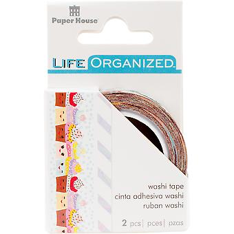 Paper House Life Organized Washi Tape 5Mm & 15Mm 10M Each-Kawaii W/Gold Foil