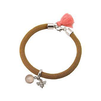 Gemshine - Damen - Armband - 925 Silber - Edelstein - Rosenquarz - BEE - Biene - Rosa - Braun