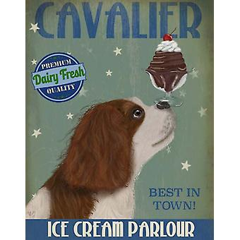 Cavalier King Charles Brown White Ice Cream Poster Print by Fab Funky (13 x 19)