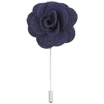David Van Hagen Flower Lapel Pin - Navy/Silver