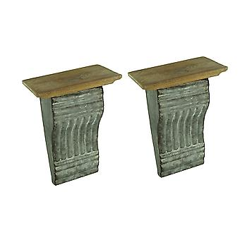 Rustic Embossed Tin and Wood Cornice Style Wall Shelf Set of 2
