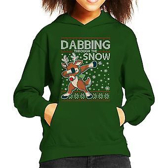 雪の中を Dabbing トナカイクリスマスニット柄キッドフード付きスウェットシャツ
