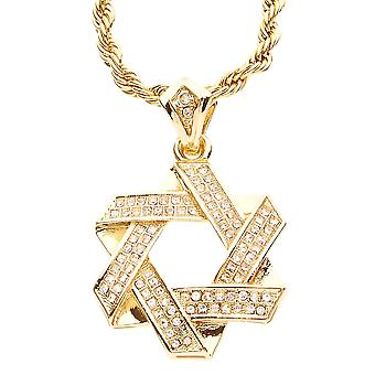 Iced Out Bling MINI Kette - Davidstern gold