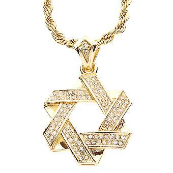 Iskallt ut bling MINI kedja - Davidsstjärna guld