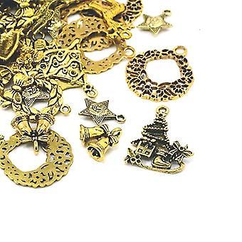 Packet 30 Grams Antique Gold Tibetan 5-40mm Christmas Charm/Pendant Mix HA12410