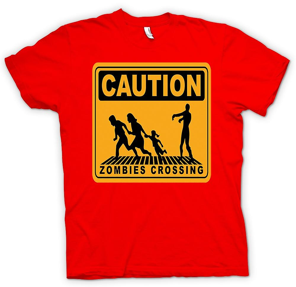 Mens T-shirt - Caution Zombies Crossing - Funny