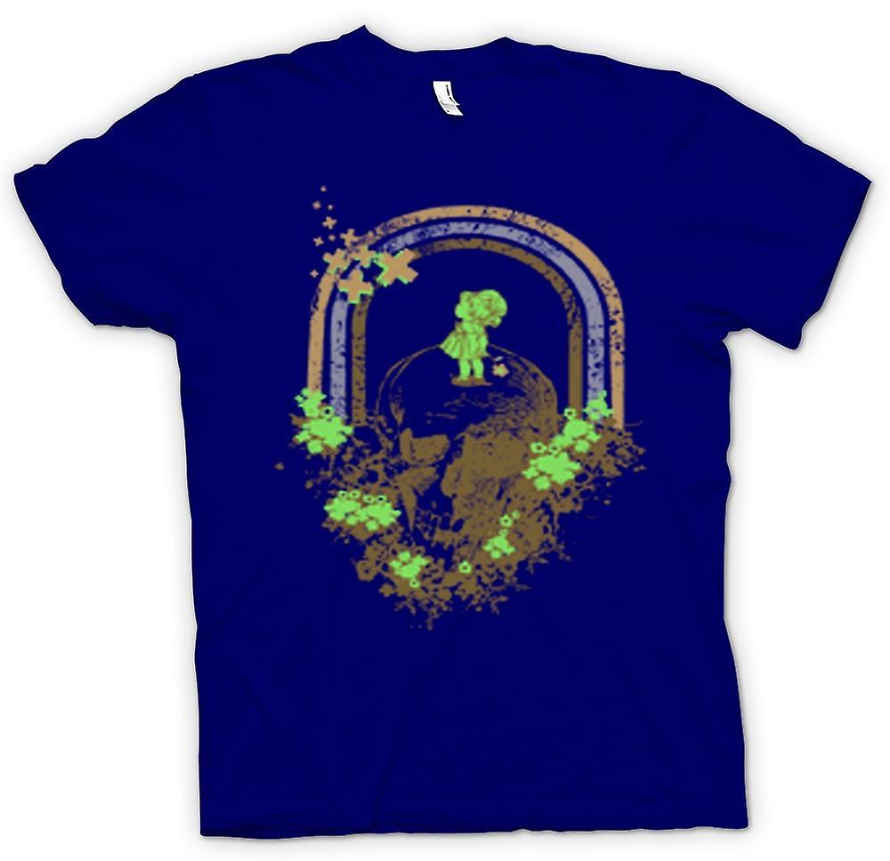 Mens t-skjorte - skallen Grunge Rainbow tegning