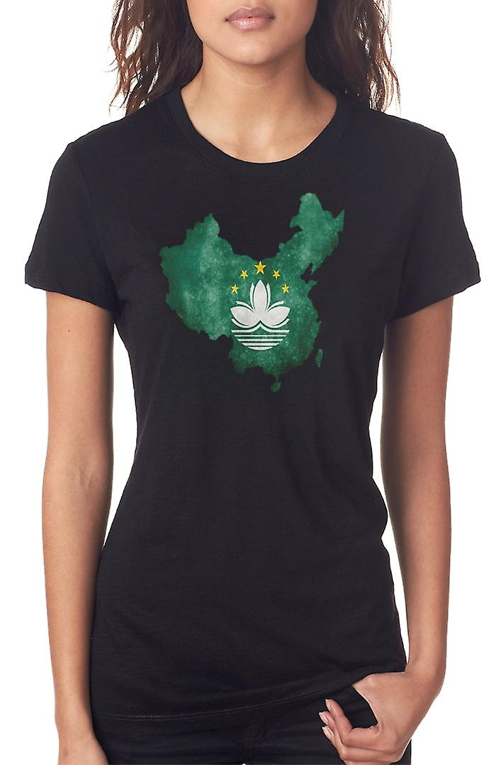 Macau Flag Map Ladies T Shirt