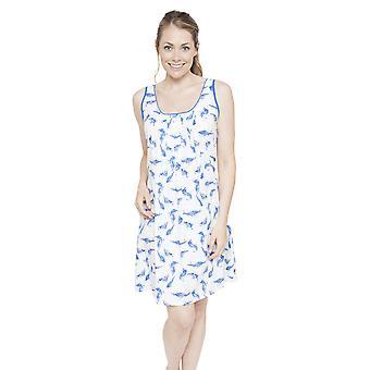 Cyberjammies 4056 Women's Amelia White Feather Print Night Gown Loungewear Nightdress
